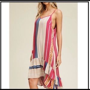 Dresses & Skirts - Strappy Striped High-Low Dress